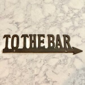Bronze metal wall art home decor To The Bar arrow